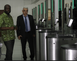 Dr. Omane Boamah (left) inspecting the project