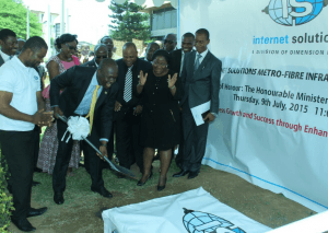 Dr. Edward Omane Boamah, Minister of Communications breaking the ground for the project.