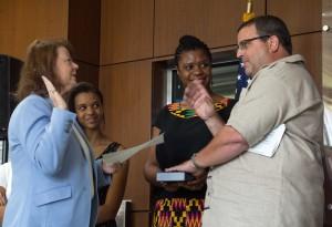 Karas being sworn in