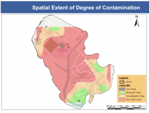 A map showing the spread on contamination in red. Source: Vincent Kyere Nartey
