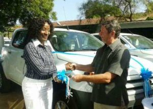 Fisheries Minister Ms Sherry Ayittey receiving the donation