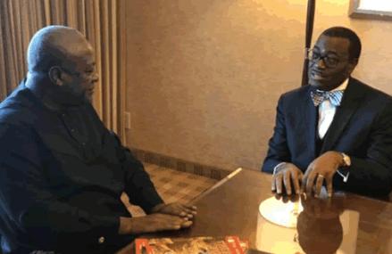 Former President Mahama meets AfDB boss Dr Akinwumi Adesina