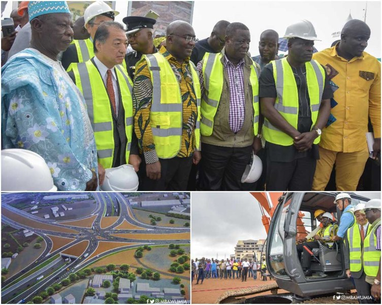 Vice President cuts sod for work to begin on Tema Motorway Roundabout